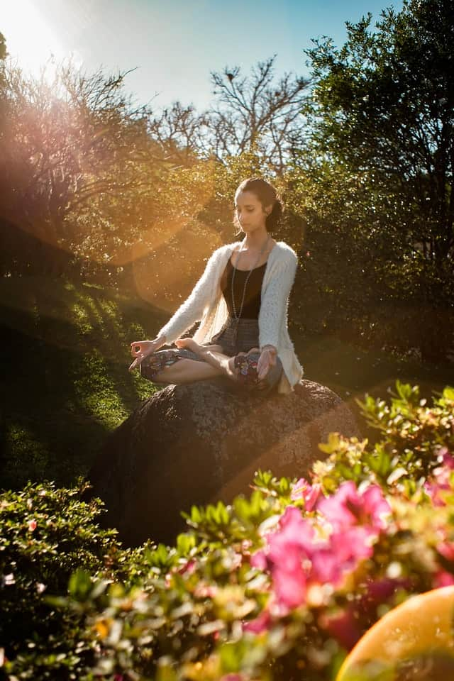 young lady doing meditation